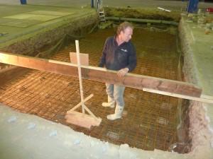 Storten van een betonnen vloer